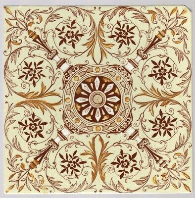 T G & F Booth - c1885 - Brown Floral Swirls - Antique Hand Painted Tile