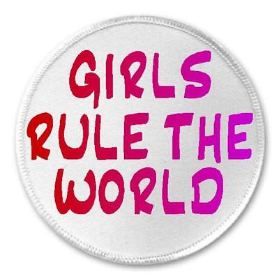 "Girls Rule The World - 3"" Sew / Iron On Patch Girl Power Feminist Gift Present"