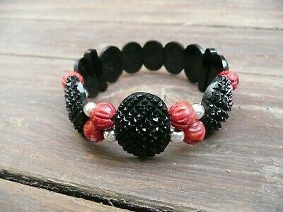 Antique  Victorian WHITBY JETwith genuine italian  carved CORAL  bracelet