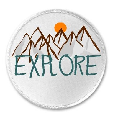 """3/"""" Sew Iron On Patch Mountain Hike Hiking Hiker I/'m Not Lost I/'m Exploring"""