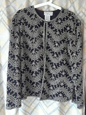 Papell Boutique Evening Black Silk Beaded Vintage Jacket