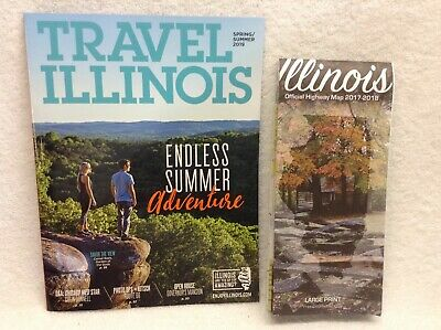 2019 ILLINOIS VACATION GUIDE (78 pages) & ROAD MAP (Large Print)