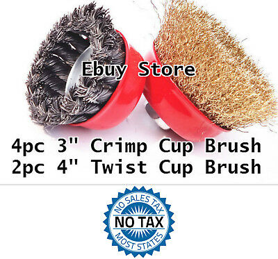 "6pc  3"" Arbor FINE Crimp & 4"" Knot Wire Cup Brush Twist For Angle Grinder 6 pc"