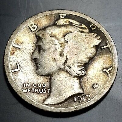 1917-D 10C Mercury Silver Dime  Denver Mint