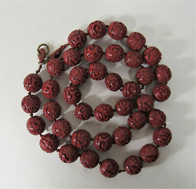 Vintage Chinese Hand Carved Cinnabar Lacquer 40 Flower Bead Necklace