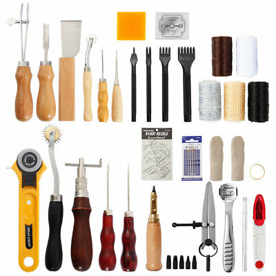 Leather Craft Hand Tools 62PCS Kit Stitching Sewing Stamping Punch Carve Work