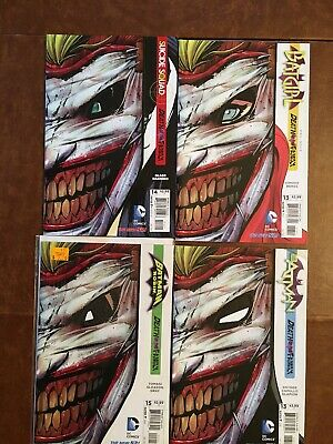 "Lot Of 4 ""Death Of The Family"" Joker Die Cut Masks Covers  2013 NN/M"