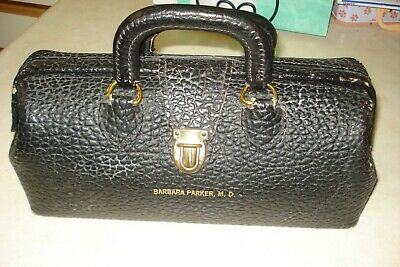 Vintage Antique Lilly Black Leather Doctor Md Bag Physician House Call W/Content
