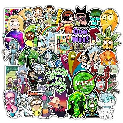 50 pcs Rick and Morty Stickers Mixed Stickerbomb Cartoon Decal Phone Skateboard