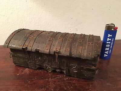 Antique Folk Art Tin Strapped Miniature Strongbox Chest, Dated 1929 Signed AAFA