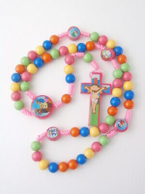 Pink Cord Rosary Beads Catholic Kids children Confirmation +free colour booklet