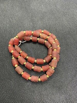 Ancient Roman Glass Old red Viking Beaded 18th Century Strand Necklace.roman