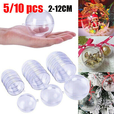 5/20Pcs Clear Balls Fillable Baubles DIY Sphere Craft For Christmas Tree Orname