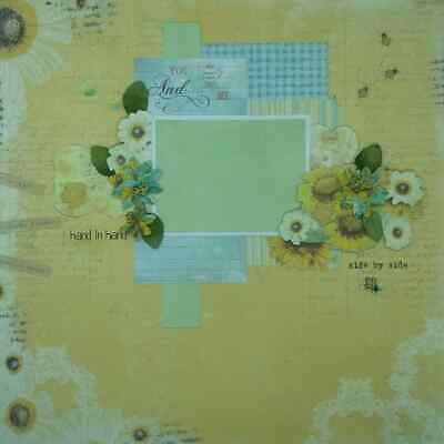 "Handmade Mixed Media 12"" x 12"" Scrapbook Page - Hand in hand!"