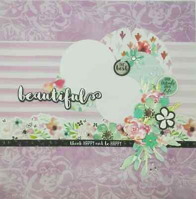 "Handmade Mixed Media 12"" x 12"" Scrapbook Page - Beautiful!"