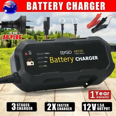 12V 1.5A Battery Charger Maintainer AGM SLA Deep Cycle Car Truck Motorbike Boat