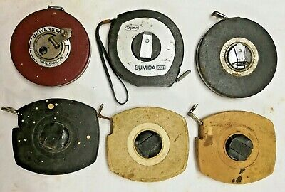6 Vintage Tape Measures: 5 Lufkin and 1 Tajima Sumija brand