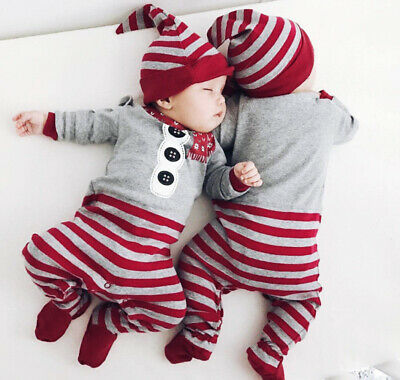Christmas Newborn Baby Boy Girl Santa Xmas Romper Jumpsuit Hat Outfits Clothes