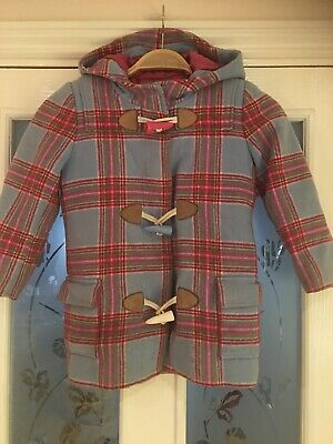 Girls Clothes Age 4 Joules Wool Blend Check Coat Pink Blue
