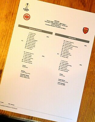 Eintracht Frankfurt - Arsenal teamsheet Europa League 19/09/19