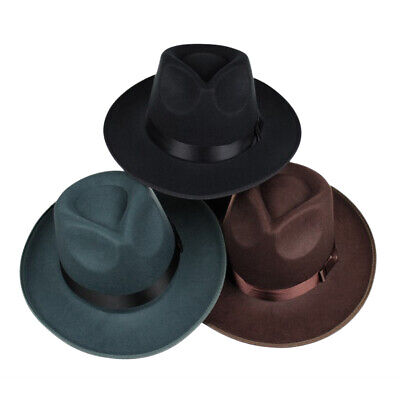 Fashion Men Women Wool Blend Fedora Panama Hat Wide Brim Classic Jazz Cap