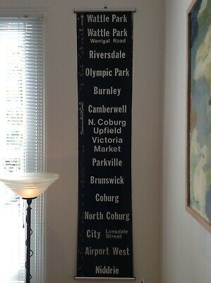 Original Tram Banner Scroll Coburg Brunswick Wattle Park Burnley Parkville