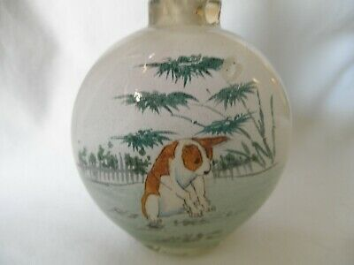 Chinese Reverse Painted Glass Dogs Snuff Bottle, Very Nice
