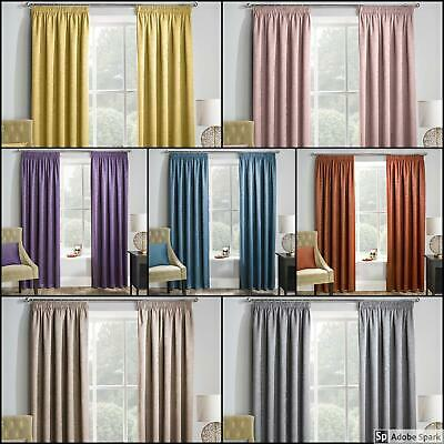 Matrix BLOCKOUT Pencil Pleat LINED Curtains Ready Made TAPE TOP *NEW COLOURS*
