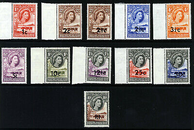 BECHUANALAND PROTECTORATE QE II 1961 New Currency Surcharges SG 157 - 167 MNH/MH