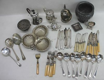 JOB LOT OF 48 x Antique/Vintage Silver Plated Cutlery/Serving Spoons/Tea Service
