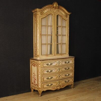Showcase Bookcase Lacquered Furniture Cupboard French Wood Painting Antique 900