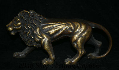 "14"" Old Chinese Bronze Feng Shui ferocious Lion Animal King Statue Sculpture"