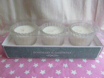 NEW Laura Ashley Rosemary & Gardenia Scented Votive Candles Boxed
