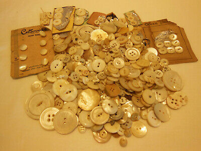 Lot Of Over 500 (1 Lb.) Vintage Mop Mother Of Pearl Buttons Sew Thru & Shank