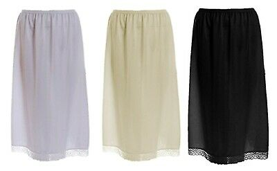 New Ladies Polyester Half Slip Underskirt Black, Ivory & White Plus Sizes 18-26