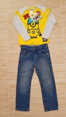 Boys Brand New George Top Minion Next Used Jeans Blue Size 5-6