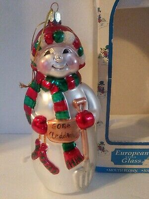 Santas Best North Pole 1997 Snowman Ornament Mouth Blown European Style Glass