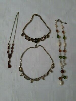 Vintage Four Necklaces Rhinestones And Stones Good Condition