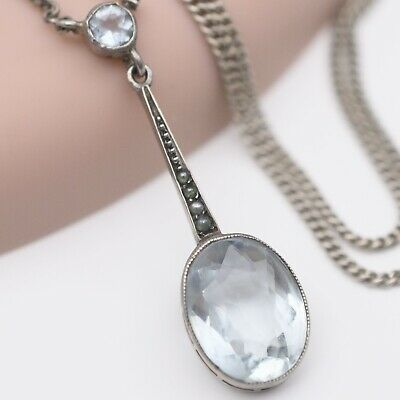 Antique Victorian Edwardian Silver Aquamarine Seed Pearl Pendant Necklace