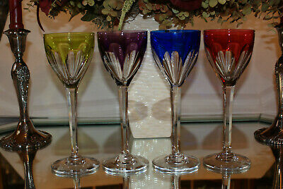 Set of Four (4) Cristallerie Lorraine Cut-to-Clear Wine Glasses France