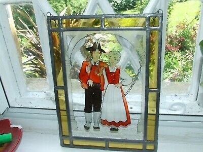 vintage stained glass leaded hand painted French panel