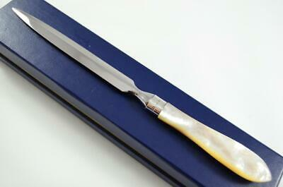 Large Cased Silver Ferruled Mother Of Pearl Handled Letter Opener 1911