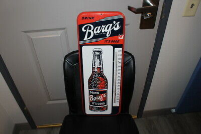 "Large Vintage 1950's Barq's Root Beer Soda Pop 26"" Metal Thermometer Sign"