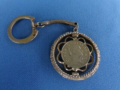 Vintage clasp keychain key ring CINCO CENTAVOS spinning coin(s) Mexico money