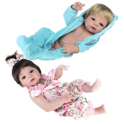 "Twins Reborn Baby Dolls Girl&Boy Full Body Vinyl Silicone Bathe 22"" Newborn Xmas"
