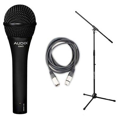 Audix OM5 Hypercardioid Dynamic Mic w/ 20ft XLR Cable and Microphone Stand New
