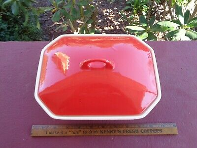 GRISWOLD Cast Iron RED & CREAM Casserole Dish with Lid No 66 & No 69