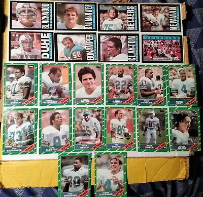 22 x Topps Miami Dolphins cards 1985-86, Duper/Clayton RC