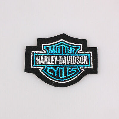 """Harley Davidson Classic Bar And Shield Embroidered Patch Blue 2.5x2"""" 6.5x5Cm"""