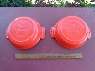 2 GRISWOLD Cast Iron RED & CREAM Small Casserole Dishes No 83